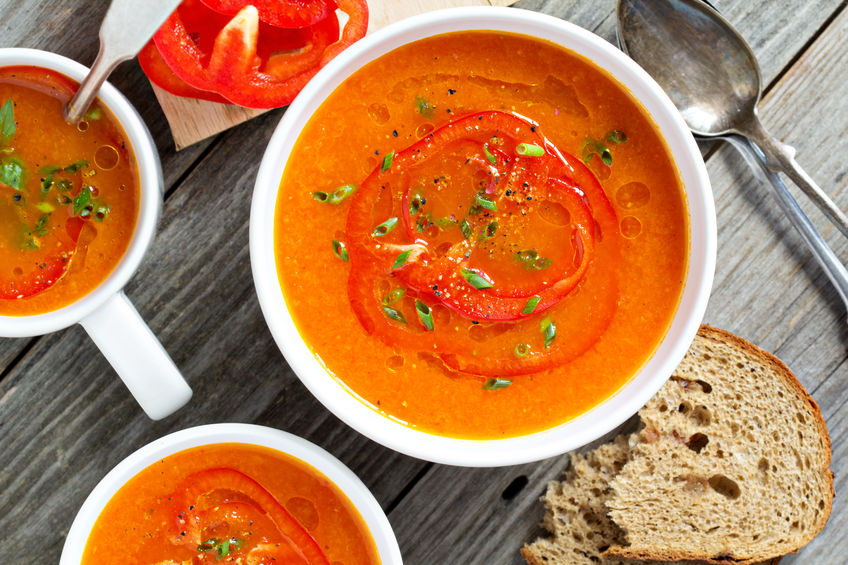 Roasted Red Capsicum Soup with Gremolata