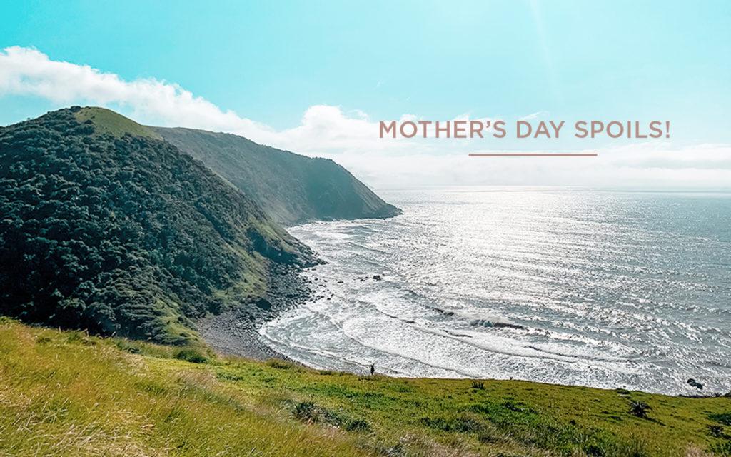 Mothers day spoils text over image of umngazi coastline