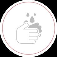 Washing or sanitising hands symbol